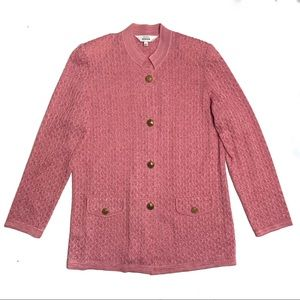 NWT Misook Pink Textured Knit Gold Button Cardigan